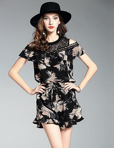 Damen Solide Blumen Einfach Lässig/Alltäglich T-Shirt-Ärmel Hose Anzüge,Rundhalsausschnitt Herbst Lange Ärmel