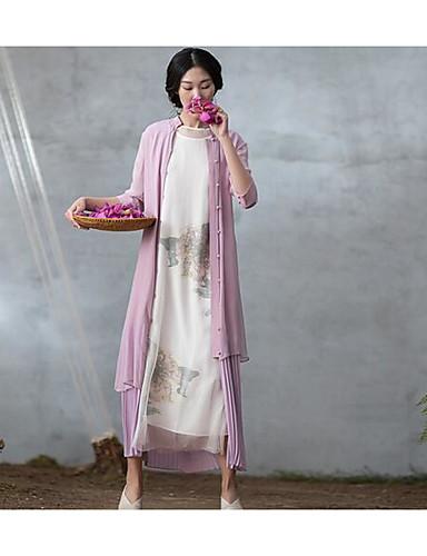 Damen Swing Kleid-Lässig/Alltäglich Solide Ständer Maxi Halbe Ärmel Polyester Sommer Tiefe Hüfthöhe Unelastisch Dünn