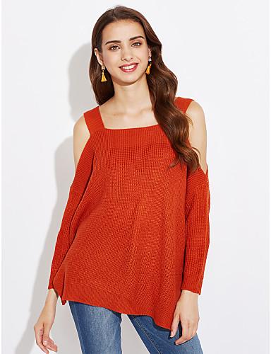 Жен. Однотонный Пуловер Хлопок Лён Осень