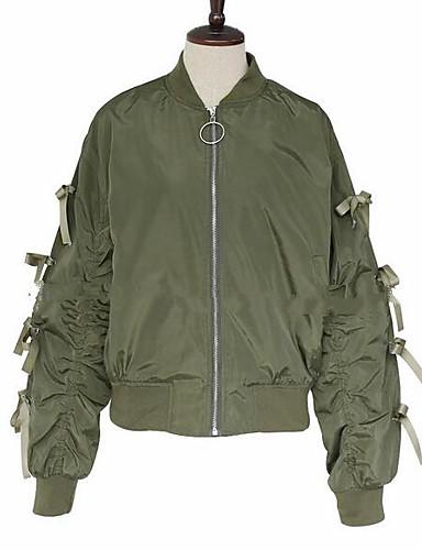 Damen Solide Einfach Lässig/Alltäglich Jacke,Ständer Frühling Lange Ärmel Standard Polyester Andere
