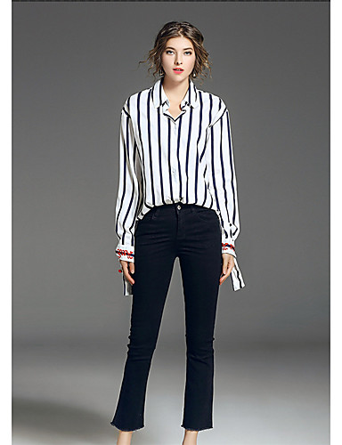 بنطلون جينزات مطاط صغير ضعيف وسط بسيط سادة نساء