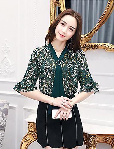 Damen Druck Einfach Ausgehen Bluse,V-Ausschnitt Halbe Ärmel Polyester
