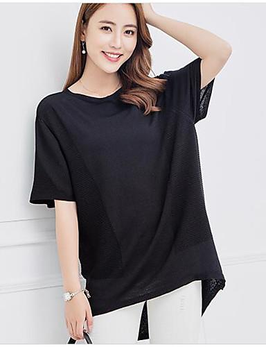 Damen Standard Pullover-Lässig/Alltäglich Solide Rundhalsausschnitt Kurzarm Nylon Sommer Dünn Mittel Mikro-elastisch