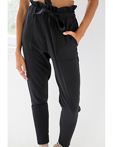 abordables Camisas y Camisetas para Mujer-Mujer Delgado Corte Ancho / Chinos Pantalones - Un Color Negro / Noche