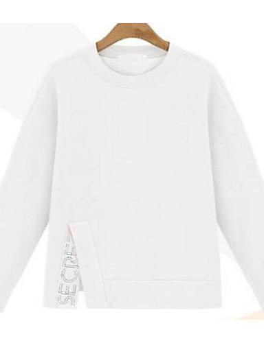 Damen Pullover Lässig/Alltäglich Einfach Solide Buchstabe überdimensional Rundhalsausschnitt Mikro-elastisch Baumwolle Lange Ärmel Winter