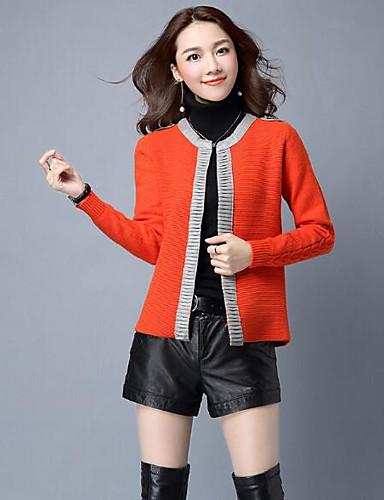 Damen Standard Strickjacke-Lässig/Alltäglich Solide V-Ausschnitt Langarm Wolle Andere Herbst Mittel Mikro-elastisch