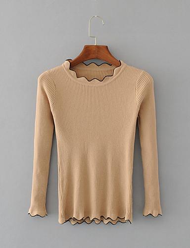 Damen Standard Pullover-Ausgehen Lässig/Alltäglich Einfach Street Schick Solide Rundhalsausschnitt Langarm Polyester Andere Winter Herbst