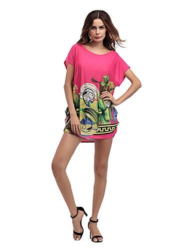 Damen Blumen Retro Einfach Niedlich Ausgehen Lässig/Alltäglich Strand T-shirt,Rundhalsausschnitt Alle Saisons Sommer Kurzarm Kunstseide