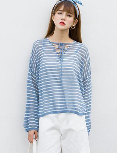 Damen Standard Pullover-Strand Gestreift Einfarbig V-Ausschnitt Langarm Andere Frühling Sommer Mittel Mikro-elastisch