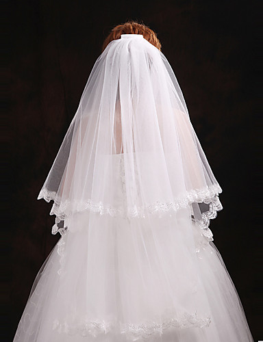 Two-tier Cut Edge Wedding Veil Blusher Veils / Elbow Veils with Pearl Tulle / Angel cut / Waterfall