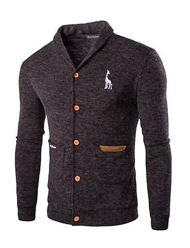 Herren Standard Strickjacke-Lässig/Alltäglich Einfach Solide Hemdkragen Langarm Baumwolle Frühling Herbst Mittel Mikro-elastisch