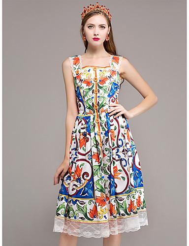 Damen Hülle Kleid-Lässig/Alltäglich Blumen Gurt Knielang Ärmellos Baumwolle Herbst Mittlere Hüfthöhe Mikro-elastisch Mittel