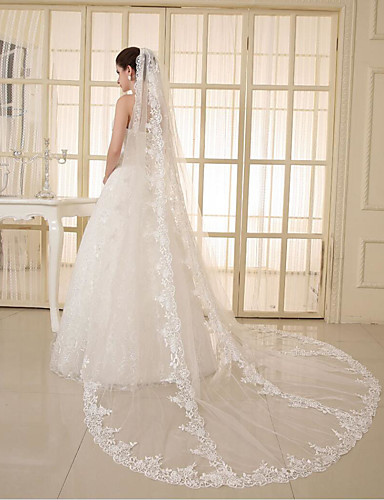 One-tier Lace Applique Edge Wedding Veil Elbow Veils Chapel Veils 53 Appliques Sparkling Glitter Tulle