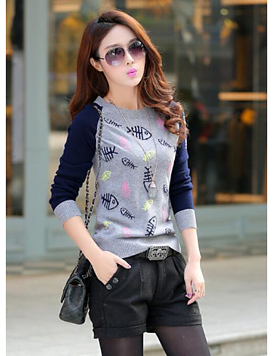 Damen Langarm Pullover-Druck