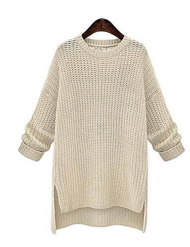 Women's Going out Long Sleeve Cotton Pullover - Solid Colored / Fall / Winter