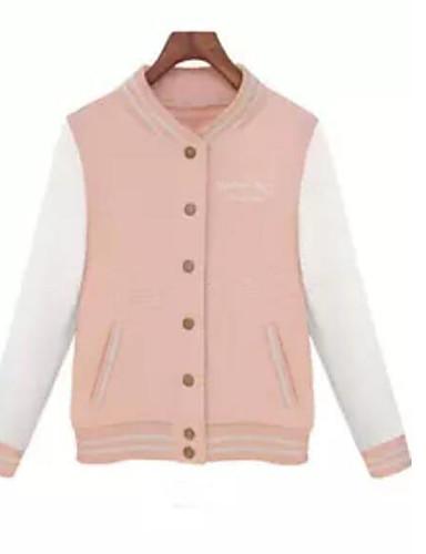 Damen Buchstabe Einfach Lässig/Alltäglich Jacke,Hemdkragen Herbst Winter Lange Ärmel Standard Polyester