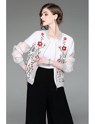 Damen Druck Einfach Ausgehen Jacke,Ständer Frühling Herbst Lange Ärmel Standard Polyester