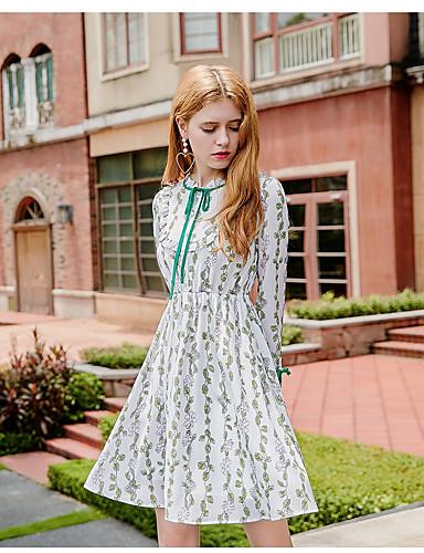 Damen A-Linie Kleid-Ausgehen Niedlich Druck Ständer Übers Knie Langarm Polyester Herbst Mittlere Hüfthöhe Mikro-elastisch Mittel
