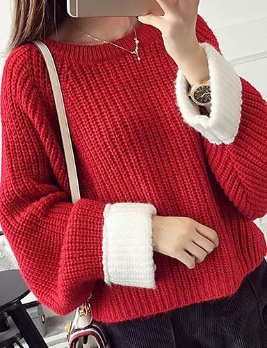 Damen Standard Pullover-Lässig/Alltäglich Solide Rundhalsausschnitt Langarm Baumwolle Leinen Herbst Mittel Mikro-elastisch
