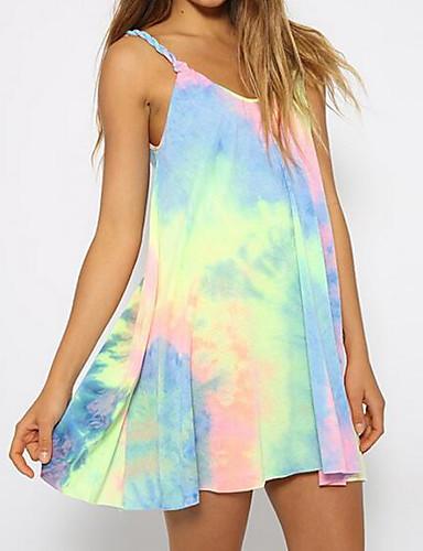 Damen T Shirt Kleid-Lässig/Alltäglich Einfarbig Gurt Übers Knie Ärmellos Andere Sommer Mittlere Hüfthöhe Mikro-elastisch Dünn