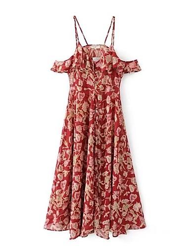 Damen Lose Kleid-Festtage Ausgehen Lässig/Alltäglich Einfach Street Schick Blumen Gurt Maxi Ärmellos Seide Baumwolle Frühling Sommer