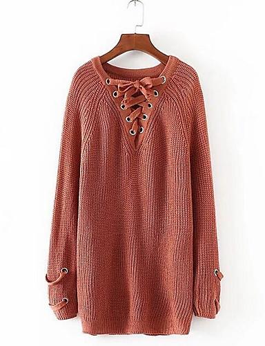 Damen Lang Pullover-Lässig/Alltäglich Einfach Solide V-Ausschnitt Langarm Wolle Baumwolle Frühling Herbst Mittel Mikro-elastisch