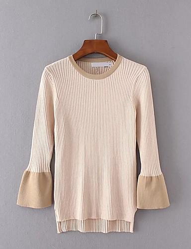 Damen Standard Pullover-Ausgehen Lässig/Alltäglich Einfach Solide Rundhalsausschnitt Langarm Baumwolle Frühling Herbst Dünn Mittel