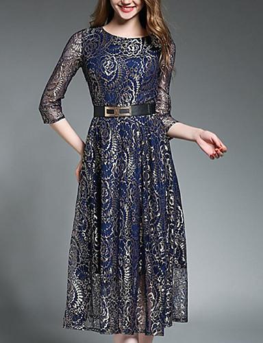 Damen Hülle Kleid-Ausgehen Solide Rundhalsausschnitt Midi 3/4 Ärmel Polyester Sommer Mittlere Hüfthöhe Mikro-elastisch Mittel