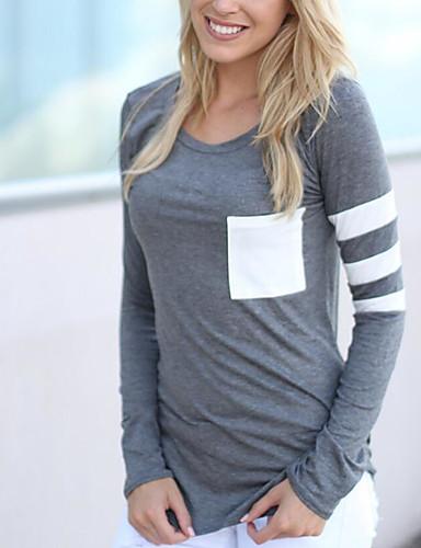 Damen Solide Einfach Ausgehen Lässig/Alltäglich T-shirt,Rundhalsausschnitt Langarm Baumwolle
