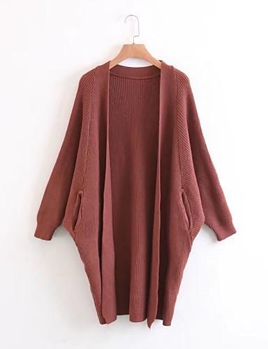 Damen Standard Strickjacke-Ausgehen Lässig/Alltäglich Einfach Solide U-Ausschnitt Langarm Baumwolle Frühling Herbst Dünn Mittel