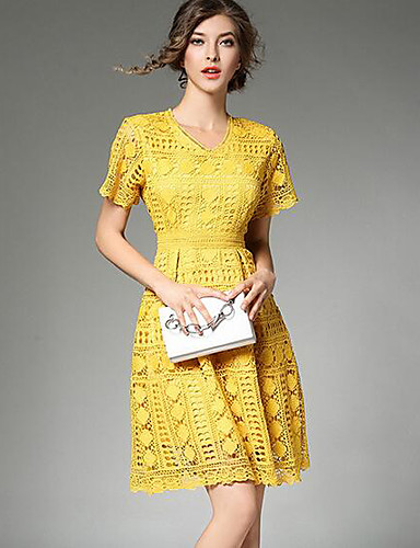 Damen Spitze Kleid-Lässig/Alltäglich Solide V-Ausschnitt Übers Knie Kurzarm Baumwolle Sommer Hohe Hüfthöhe Unelastisch Dünn