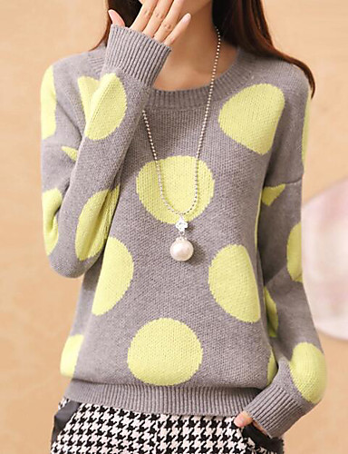 Damen Kurz Pullover-Lässig/Alltäglich Solide Punkt Rundhalsausschnitt Langarm Polyester Frühling Herbst Mittel Dehnbar