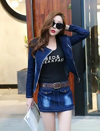 Damen Solide Einfach Niedlich Aktiv Strand Ausgehen Shirt Rock Anzüge,Hemdkragen Herbst Frühling Lange Ärmel Jeansstoff Mikro-elastisch