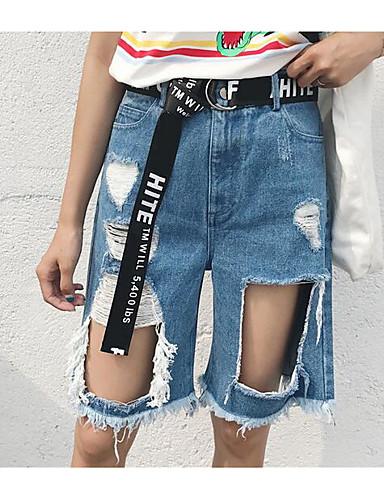 Damen Street Schick Mittlere Hüfthöhe Mikro-elastisch Jeans Kurze Hosen Breites Bein Hose Solide