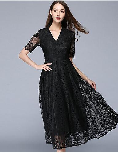 Damen Ausgehen Anspruchsvoll Swing Kleid Solide / Jacquard Midi V-Ausschnitt / Sommer / Herbst