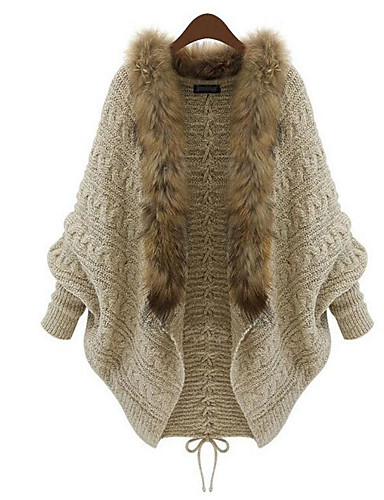 Women's Loose Cardigan - Solid Colored / Winter / Fur Trim