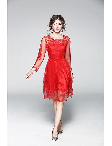 Damen Hülle Kleid Solide Stickerei Knielang