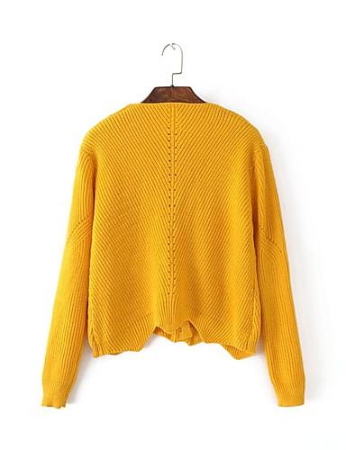 Damen Standard Pullover-Ausgehen Lässig/Alltäglich Einfach Solide Rundhalsausschnitt Langarm Acryl Frühling Herbst Dünn Mittel