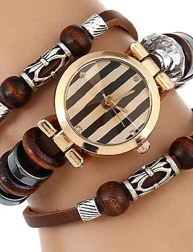 Women's Bracelet Watch Chinese Water Resistant / Water Proof / Creative PU Band Casual / Bangle Brown / Stainless Steel
