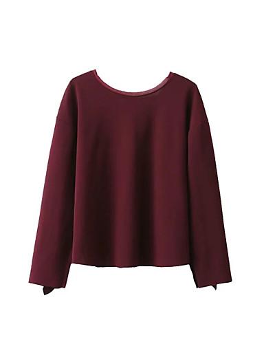 Damen Solide Einfach Sexy Street Schick Ausgehen Lässig/Alltäglich Hemd,Rundhalsausschnitt Frühling Herbst Langarm Baumwolle Acryl