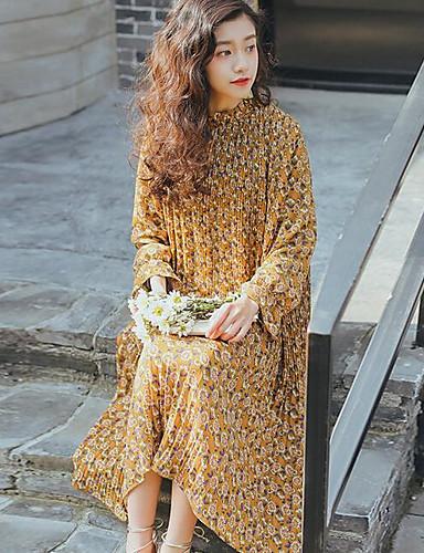 Damen Hülle Kleid-Lässig/Alltäglich Druck Rundhalsausschnitt Midi Langarm Baumwolle Frühling Mittlere Hüfthöhe Unelastisch Undurchsichtig