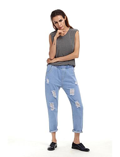 Damen Freizeit Sexy Street Schick Hohe Hüfthöhe Mikro-elastisch Bootcut Jeans Hose,Polyester Ganzjährig Solide