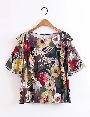 Damen Blumen Einfach Street Schick Ausgehen Lässig/Alltäglich Arbeit Bluse,Rundhalsausschnitt Sommer Kurzarm Andere Dünn Mittel