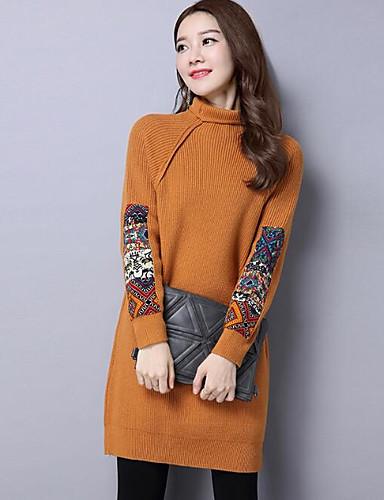 Damen Lang Pullover-Lässig/Alltäglich Solide Rollkragen Langarm Wolle Nylon Andere Herbst Winter Mittel Mikro-elastisch
