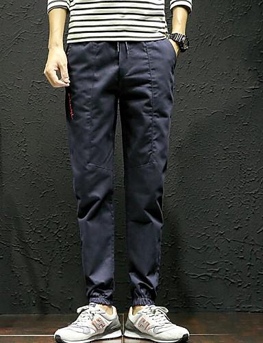 Herren Einfach Mittlere Hüfthöhe Unelastisch Eng Skinny Hose Buchstabe