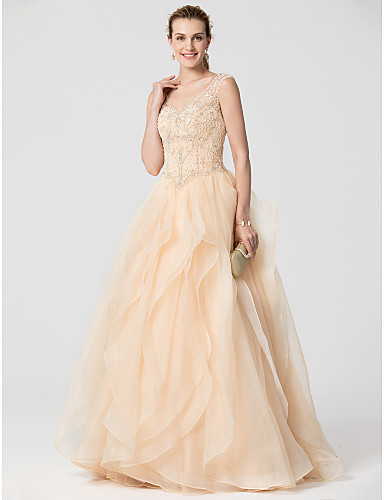 Ball Gown V-neck Sweep / Brush Train Organza Formal Evening Dress with Beading Cascading Ruffles by TS Couture®