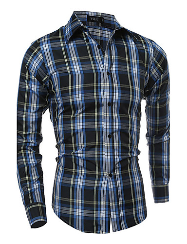 Men's Active Plus Size Cotton Shirt - Striped / Plaid Standing Collar / Long Sleeve