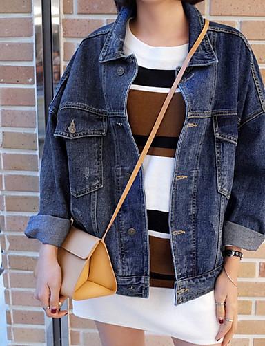 Damen Solide Einfach Ausgehen Jeansjacke,Hemdkragen Winter Lange Ärmel Standard Polyester