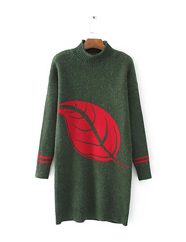 Damen Lang Pullover-Ausgehen Lässig/Alltäglich Einfach Solide Druck Rundhalsausschnitt Langarm Baumwolle Frühling Herbst Dünn Mittel