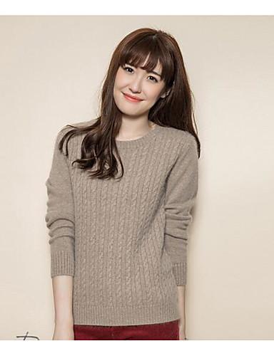 Damen Standard Pullover-Lässig/Alltäglich Solide Rollkragen Langarm Nylon Herbst Winter Mittel Mikro-elastisch